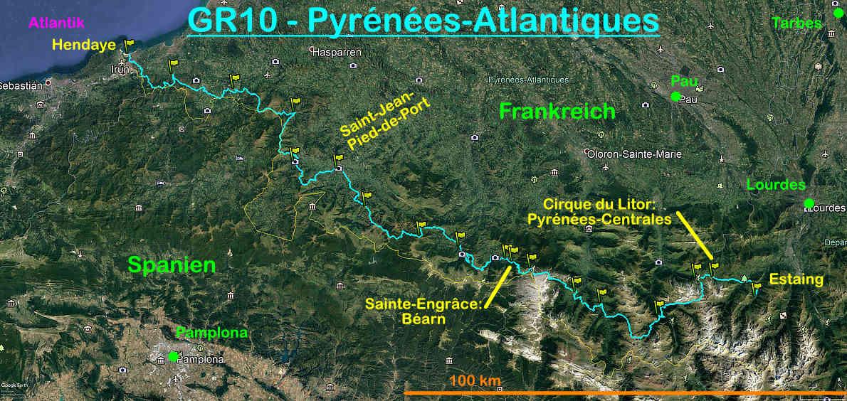Der Verlauf des GR10 in den Pyrénées-Atlantiques
