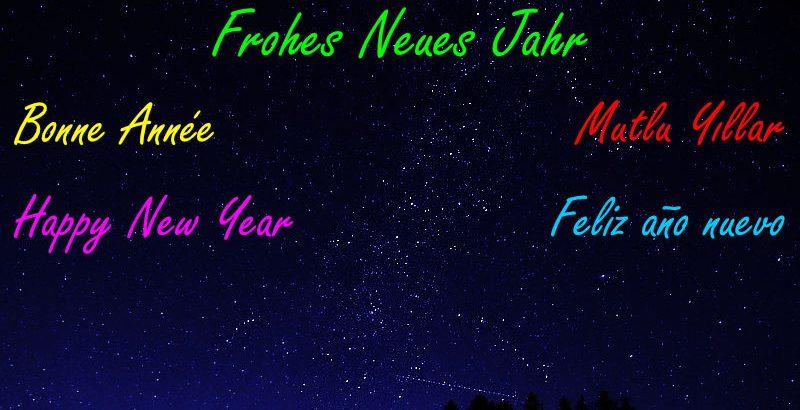 Nachthimmel mit Milchstraße und Frohes neues Jahr