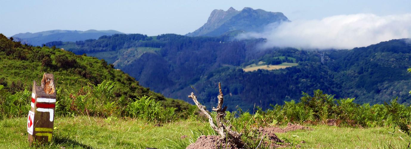 Wegmarkierungen und Panorama nach dem Rocher des Perdrix